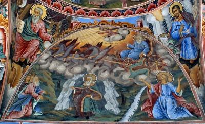 A fresco of Saint Ilia (Elijah) from the Rila Monastery, Bulgaria