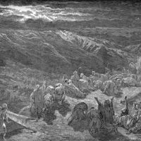 """""""Giving of the Law Upon Mt Sinai"""" woodcut by Gustave Dore"""